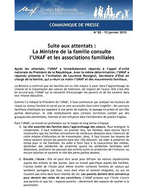 Suite aux attentats:La Ministre de la famille consulte l'UNAF et les associations familiales