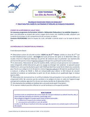 Les clés du Permis B (publication UNAF)