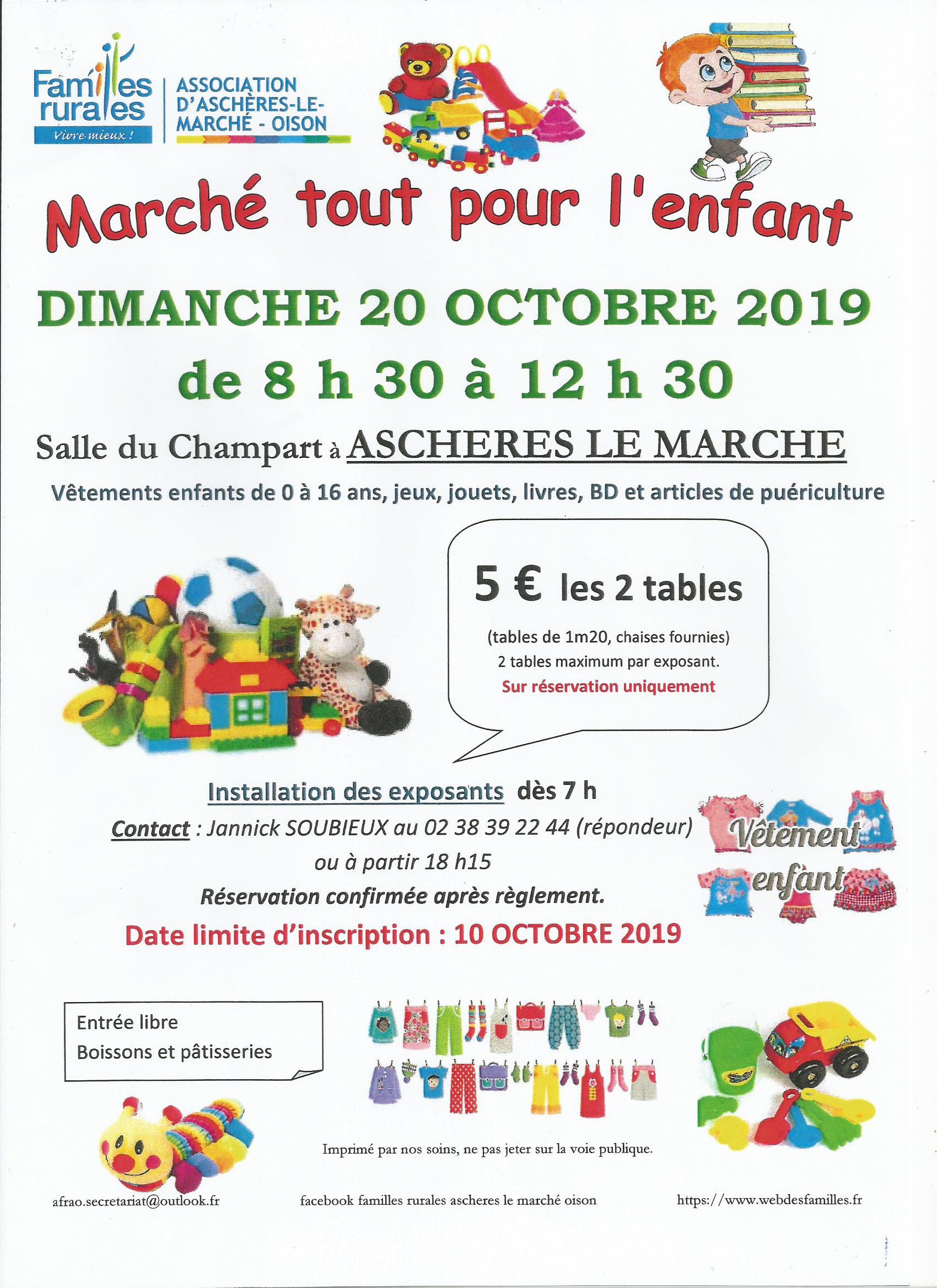 """Familles rurales Aschères le Marché - Oison organise son marché tout pour l""""enfant"""